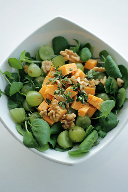 Grapes, Red Leicester cheese and Watercress