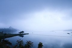 Misty Lake (samyaoo) Tags: morning lake mountains reflection misty sunrise foggy taiwan     sunmoonlake nantou