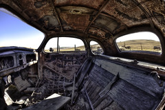 Bodie, ghost town, inside 37 Chevy. (Randy Weiner Photography) Tags: california detail abandoned lost mono automobile decay sensual forgotten worn ghosttown weathered bodie sexual oldcar hdr topaz notinuse miningtown abandonedcar highway395 bridgport leftbehind photomatix bodiecalifornia tonemapped bodiestatepark abandonedautomobile canonef15mmf28fisheye arresteddecay oldchevrolet canoneos5dmarkii hdraddicted abandonedauto pscs4 exoticimage topazdetail2