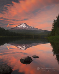 Friday Night Light Show (Gary Randall) Tags: sunset lake reflection clouds oregon trilliumlake governmentcamp colorphotoaward garyrandall peacefulgetaway dsc83552