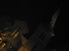 camden street church 1 (sidknee23) Tags: church boston architecture night lights stainedglass steeple southend indiansummer multitasking bostonmetro camdenstreet september2010