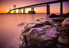 Narragansett Bay Sunrise (chris lazzery) Tags: longexposure sunrise rhodeisland newport 5d jamestown canonef1740mmf4l claibornepellbridge bw30nd
