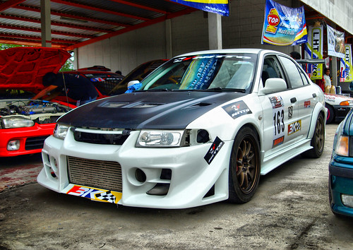 A Mitsubishi Evolution 6 at
