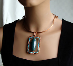 Big Bold Bead Necklace (Ruth Jensen) Tags: necklace recycled turquoise jewelry copper pendant bold copperwire wiresculpture ceramicbead wirewrapped sparkflight ruthjensen