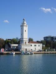 Faro di Rimini (simo884) Tags: blue autumn sea sky italy lighthouse water faro boats seaside italia mare harbour blu rimini barche porto cielo acqua autunno canale romagna sereno