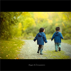 Brothers (Explored) (Ziyan | Photography) Tags: street boy fall leaves kids canon brother path run canon5d ziyan canonef70200mmf28lisiiusm