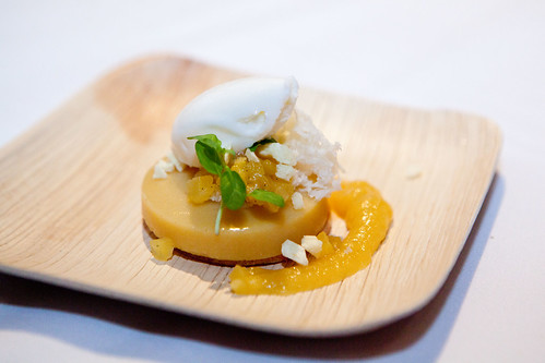 Gordon Ramsay at the London's Pastry Chef Ron Paprocki's dish: Pineapple Creameaux with Pineapple Rock Candy, Vanilla Sable, Yogurt Sponge, and Yogurt Sorbet