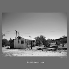 exploration : The Little Corner House (tofu_minx) Tags: california wood old usa broken blackwhite route66 decay dirtroad exploration