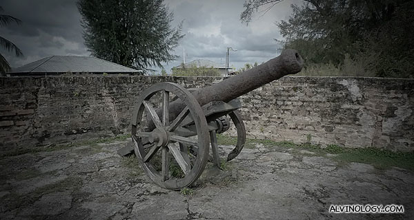 One of the many ancient cannons at Fort Cornwallis