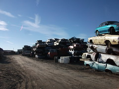 Cars awaiting shredding (dave_7) Tags: old cars car truck rusty international trucks junkyard scrapyard crushed lethbridge mercurymarquis pontiacfirebird