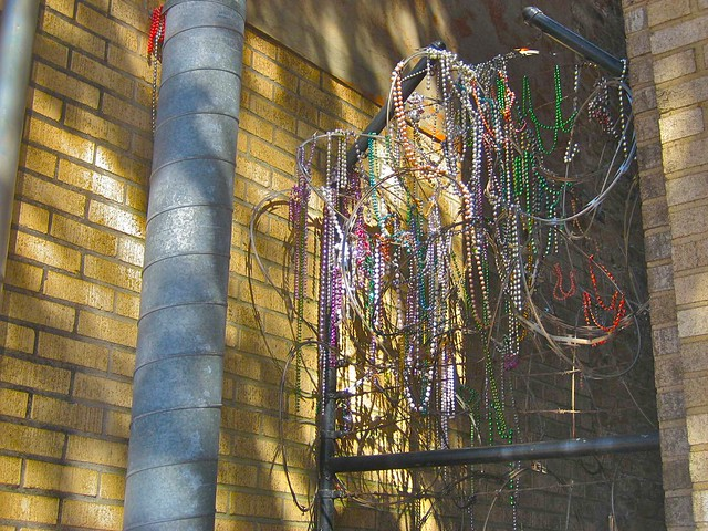 Mardi Gras Beads Over Barbed Wire, New Orleans