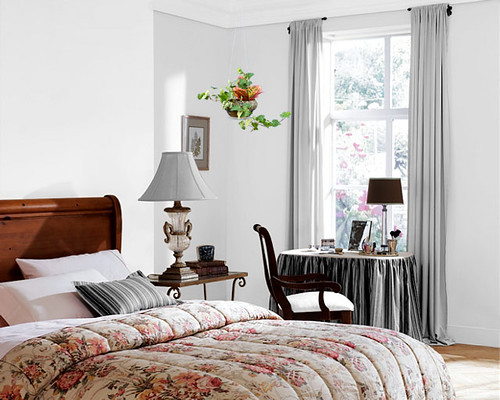 Hanging Flowering Plant using Invisiclimb decorative hangers adds to bedroom decor