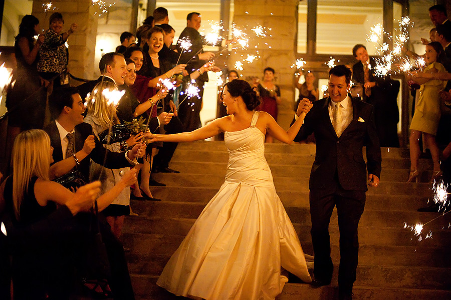 newlywed exit departure with sparklers
