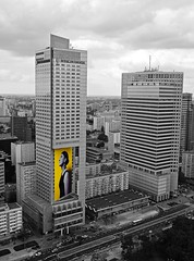 Yellow advertising (radimersky) Tags: city white black yellow skyscraper buildings advertising landscape europa europe cityscape poland polska panasonic commercial advert warsaw block pancake 20mm warszawa intercontinental aviva miasto reklama gf1 budynki miejski krajobraz wieowiec czarnobiay zty dmcgf1