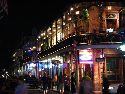 bourbon street lit up at night