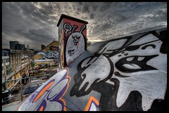 London Rocks! (Romany WG) Tags: london art rooftop skyline graffiti shoreditch vibes 2010 endoftheline nychos rabbiteyemovement