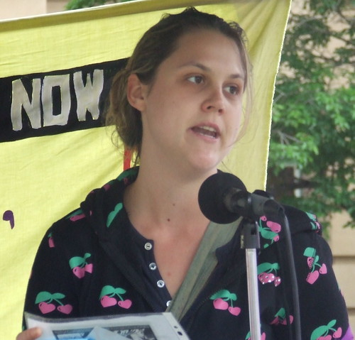 Sarah from the Pro Choice Action Collective speaks at the Pro Choice Rally, Queens Park, George and Elizabeth Sts, Brisbane, Queensland, Australia 101009