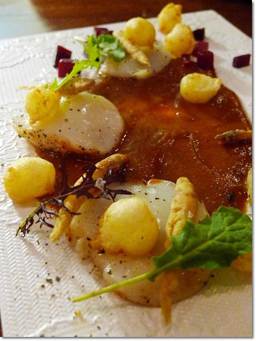 Hokkaido Scallops with Whitebait, Mozzarella Balls, Lobster Consomme