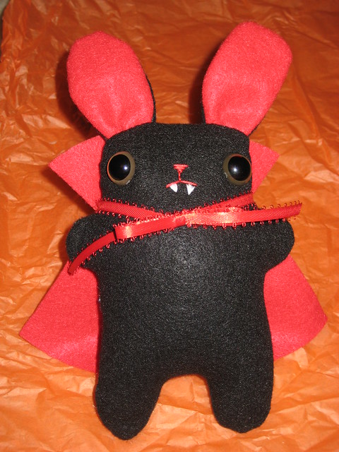 Handmade Vampire Bunny Felt Stuffie