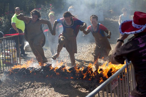 Warrior Dash flame jump