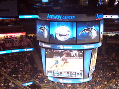 The Largest Video Scoreboard in the NBA (msnguy81) Tags: basketball florida arena nba orlandomagic centralflorida orlandoflorida inauguralgame 101010 nbabasketball amwaycenter