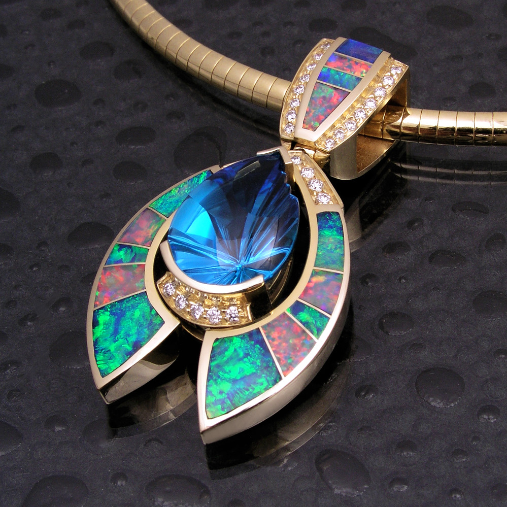 Australian opal inlay pendant with topaz and diamonds 1