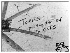 Cuts (padraicyclops) Tags: bw writing newcastle graffiti blackwhite nikon political documentary toilet cuts conservatives iphone tories freetradeinn torycuts 13oct10 theageofausterity