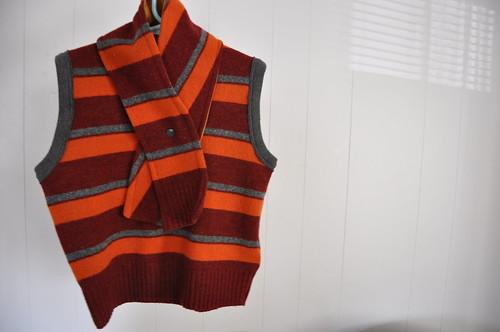 sweater vest + scarf