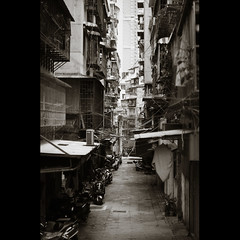 (_kuri) Tags: china summer bw sun hot digital 50mm back alley nikon d 14 af macau 2010 passepartout  d90