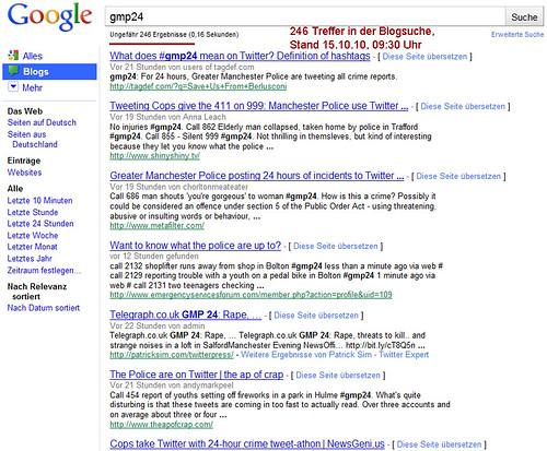 Google Blogsuche Manchester Police gmp24