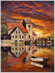 The evening (Jean-Michel Priaux) Tags: autumn sunset sky orange sun house france art church nature water sunshine clouds photoshop painting landscape boat village chapel reflet reflect alsace paysage maison chapelle hdr barque anotherworld terrific littleboat priaux autaumne petitbteau vanagram lipsheim nordouse saintludan hipsheim