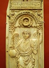 Byzantine panel with archangel, detail of upper half