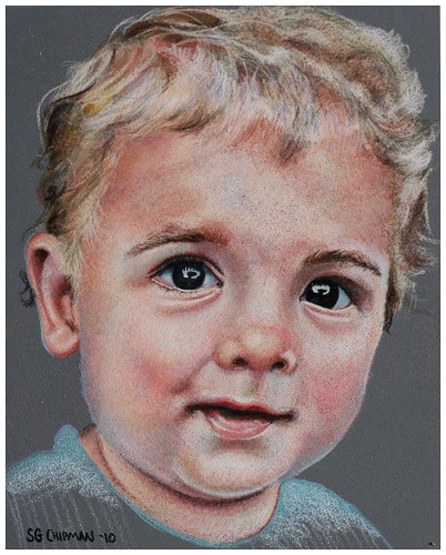 Colored pencil drawing entitled Emre at 16 Months