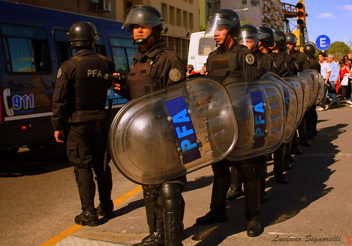 Argentinian police in riot gear