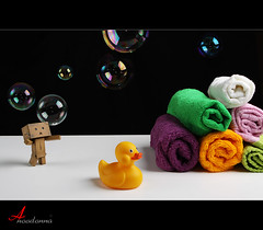 Bath Time o O [ Explore Front Page ] (ANOODONNA) Tags: pink orange white black green yellow happy duck purple bubbles shampoo explore bubble bathtime frontpage canonef2470mmf28lusm danbo explorefrontpage canoneos50d danboard anoodonna  alanoodalrasheed