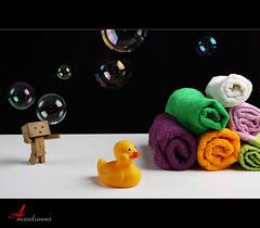 Bath Time o O [ Explore Front Page ] (ANOODONNA) Tags: pink orange white black green yellow happy duck purple bubbles shampoo explore bubble bathtime frontpage canonef2470mmf28lusm danbo explorefrontpage canoneos50d danboard anoodonna العنودالرشيد alanoodalrasheed