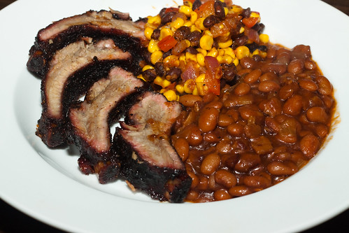 BBQ Ribs with Root Beer Beans and Succotash