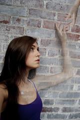 fade into me (kaitlinalexa) Tags: portrait brick wall photoshop hand fade reach