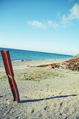 Mine Remains (James Sharpe) Tags: ocean sea sky beach water metal wales mine august 2010