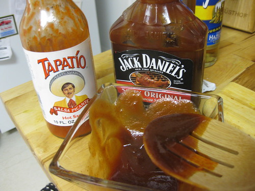 Mixing up jerk bbq sauce