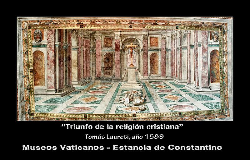 Roma - Museos Vaticanos - Triunfo de la religión Cristiana - detalle techo estancia de Constantino
