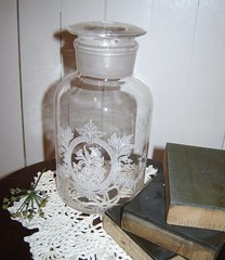 Etched Victorian Apothecary Jar023 (sixpenceandabluemoon) Tags: etched victorian clear medical glassjar candyjar apothocaryjar