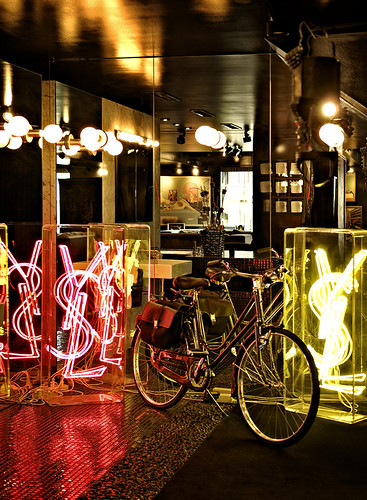 Cindy Gallop's Gucci bike and YSL neon art