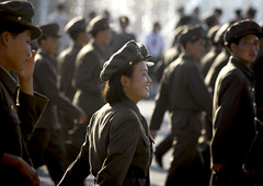 Smiling Soldiers in North Korea (Eric Lafforgue) Tags: people woman color colour male men smile horizontal female soldier army person war asia femme capital joy happiness korea parade communism asie capitale coree guerre groupofpeople sourire bonheur personne couleur humanbeing joie militaire hommes soldat communisme northkorea armee defile pyongyang dprk coreadelnorte inprofile nordkorea deprofil colorpicture waistup democraticpeoplesrepublicofkorea   4981  coreadelnord  etrehumain groupedepersonnes coreedunord  insidenorthkorea  rpdc  kimjongun coreiadonorte  republiquepopulairedemocratiquedecoree cadragealataille