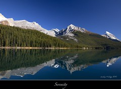 "Serenity (Joalhi ""Back in Miami"") Tags: lake canada water reflections boat alberta jaspernationalpark malignelake coth5"
