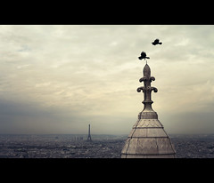 the prophecy (millan p. rible) Tags: cinema paris france birds skyline canon movie still gloomy ominous eiffeltower montmartre dome cinematic theprophecy canonef50mmf14usm basiliquedusacrécœur canoneos5dmarkii 5d2