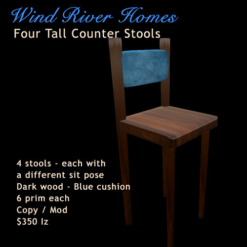 Tall Counter / Bar Stools - dark wood, blue back cushion by Teal Freenote