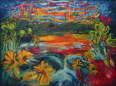 Urban Energy: City Pond (Tim Noonan) Tags: city flowers sky colour art painting pond energy acrylic vivid manipulation