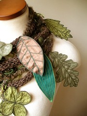 Long and Leafy Scarf with Embroidered Leaves- Tweedy Brown with Sap Green and Olive Drab Berries (Betsie Withey) Tags: flowers brown motion tree green art nature leaves mi forest scarf woodland botanical leaf women knitting felting embroidery michigan unique crochet inspired knit free vine folklore sage elf fairy fantasy jungle accessories organic etsy wearable fiberart rowan embroidered saugatuck faerie enchanted summertweed applegreen arttowear artscarf fairywear