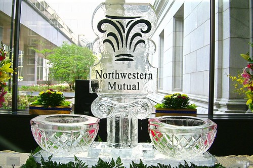 Northwestern Mutual with Ice bowls ice sculpture